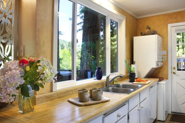 Kitchen With View to the Deck
