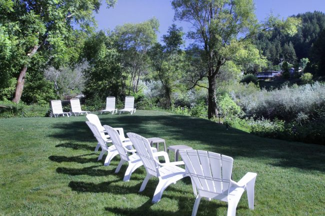 Lawn Chairs and Loungers Overlooking Russian River